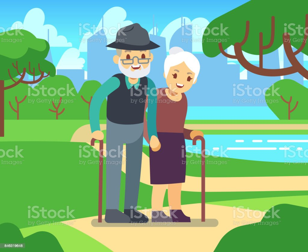 happy cartoon older female in love outdoors old couple in park