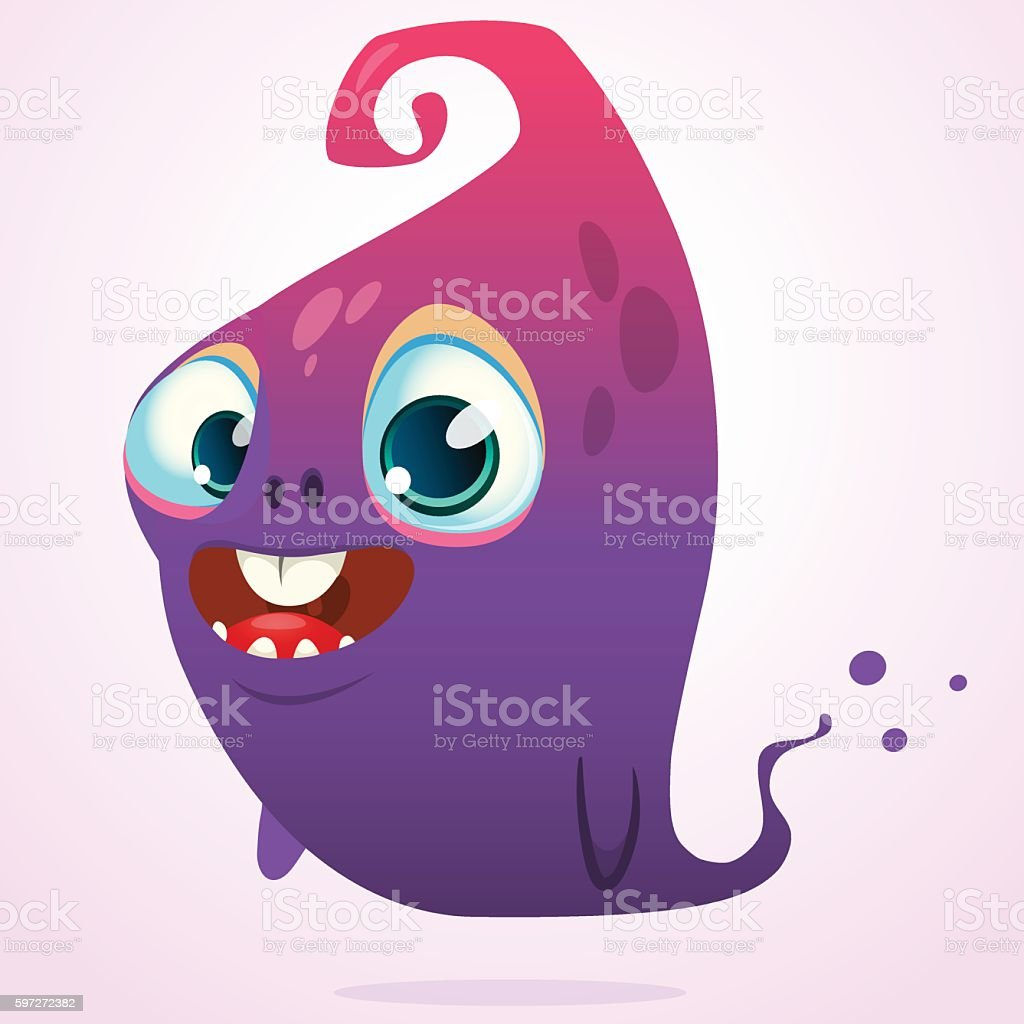 Happy cartoon pink and blue ghost. Vector Halloween monster Lizenzfreies happy cartoon pink and blue ghost vector halloween monster stock vektor art und mehr bilder von angst