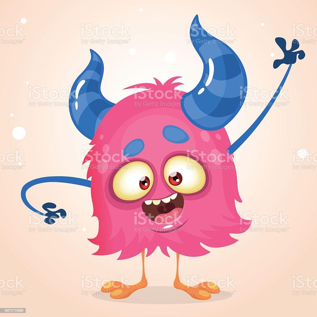 Happy cartoon pink monster. Vector Halloween horned character Lizenzfreies happy cartoon pink monster vector halloween horned character stock vektor art und mehr bilder von achtung yeti