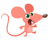 Happy cartoon pink mouse talking. Vector illustration isolated
