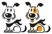happy cartoon puppy dog .Vector logo, icon , emblem . Black white and color illustration