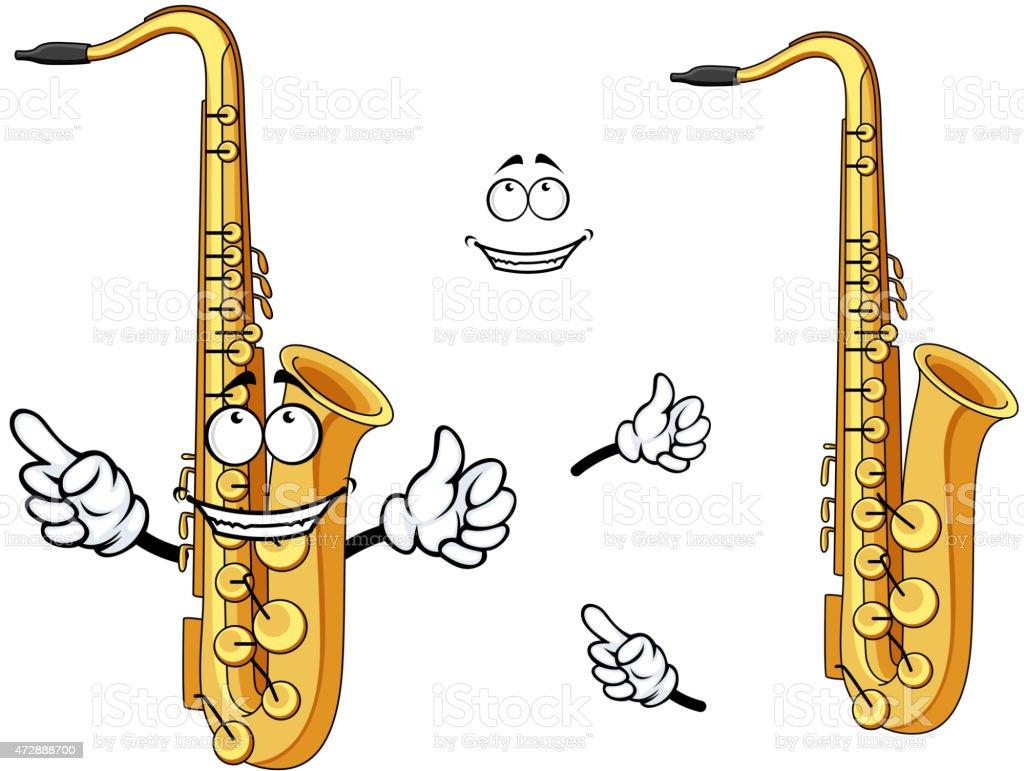 Dessin Saxophone caractère heureux dessin animé instrument saxophone – cliparts