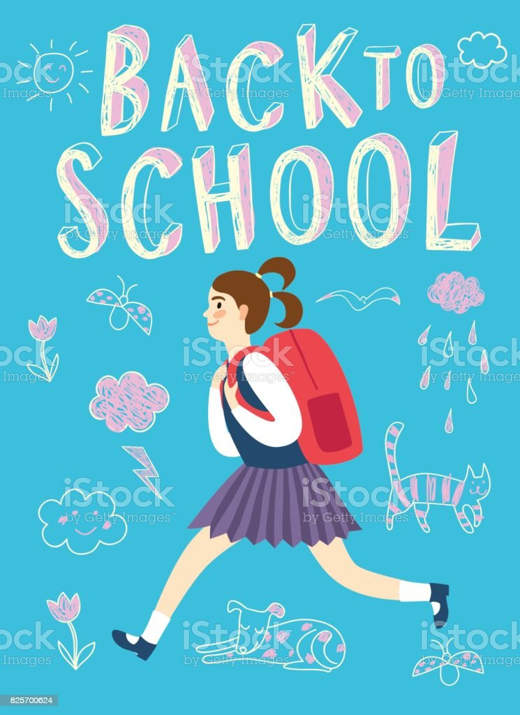 Happy cartoon schoolgirl running with backpack vector art illustration