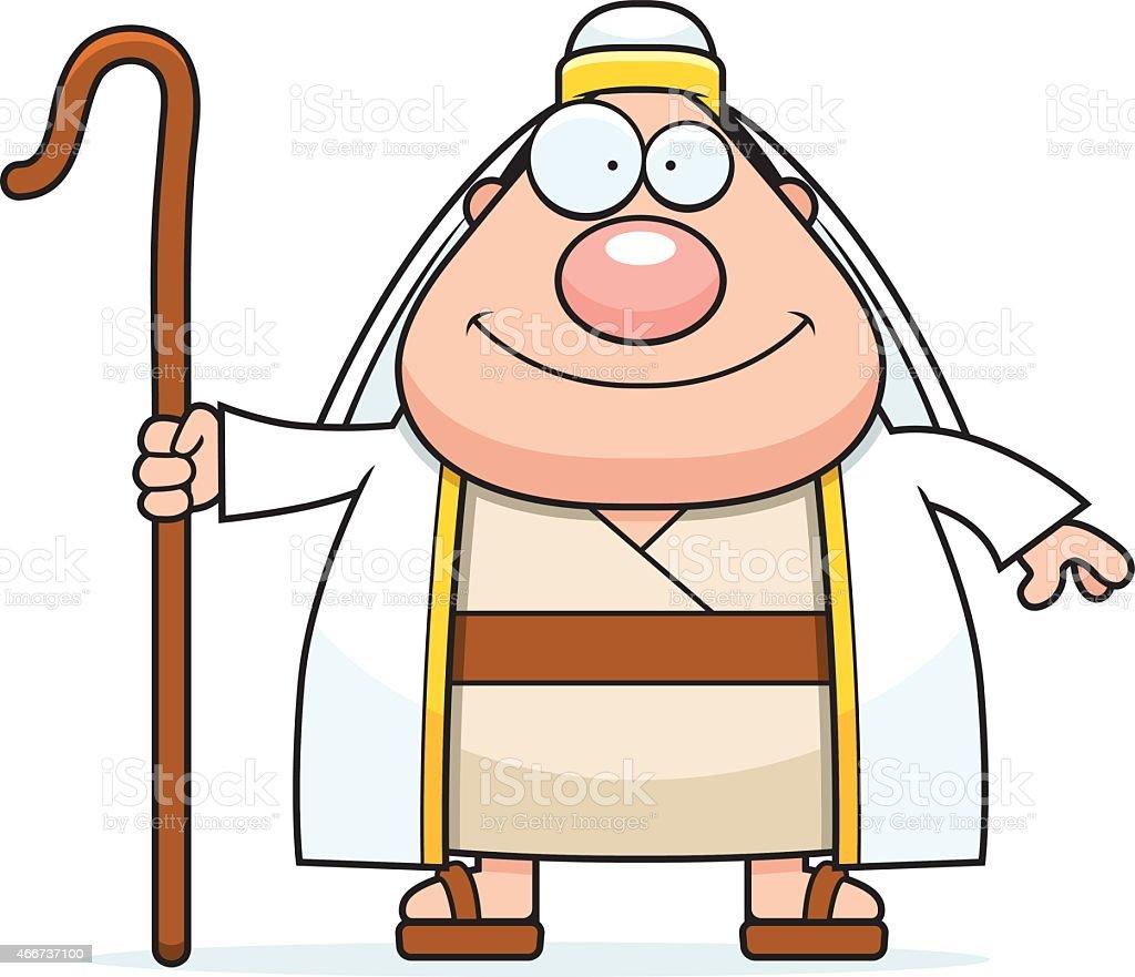 Happy Cartoon Shepherd vector art illustration