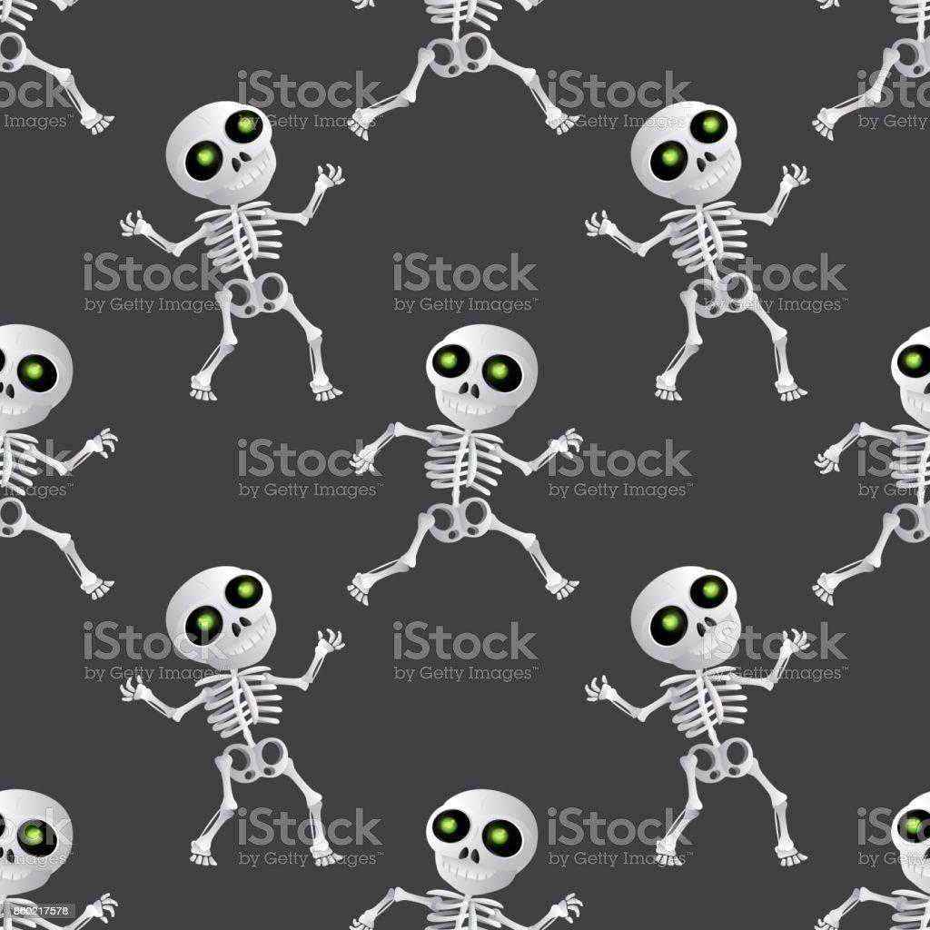 Ilustración de Dibujos Animados Feliz Esqueleto De Patrones Sin ...