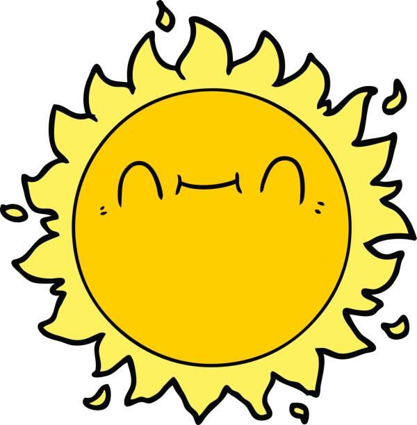 happy cartoon sun vector art illustration