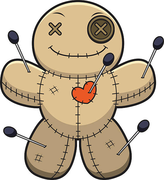 Happy Cartoon Voodoo Doll A cartoon illustration of a voodoo doll looking happy. voodoo stock illustrations