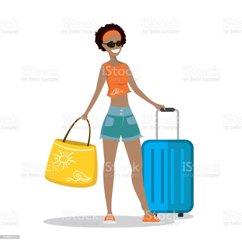 84138fd4d47 Happy Cartoon Woman In Beach Clothes With Suitcase And Bag Stock ...
