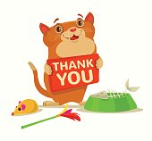 Happy cat character hold plate with thank you words