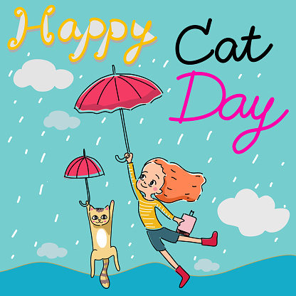 happy Cat day card cat and girl flying with umbrella in rainy sky cartoon vector