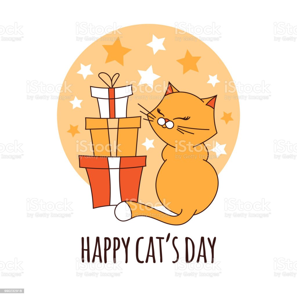 幸せ猫日イラスト笑顔のプレゼントとかわいい漫画子猫ペットの誕生日の