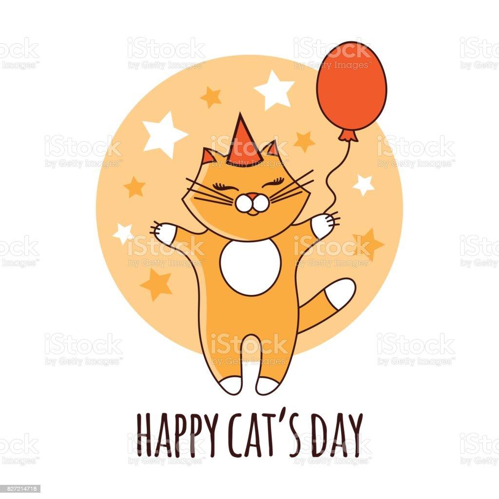 Vector de ilustración de gato día feliz - ilustración de arte vectorial