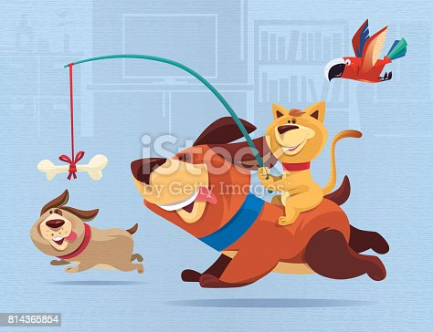 vector illustration of happy cat guiding dog…