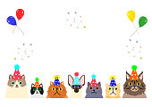 happy cats with party hat border