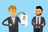 Happy caucasian businessman with badge or id card and sad male without badge, flat Vector illustration.
