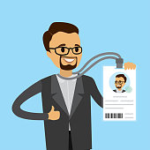 Happy caucasian businessman with badge or id card, flat Vector illustration.