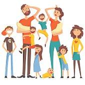 Happy Caucasian Family With Many Children Portrait