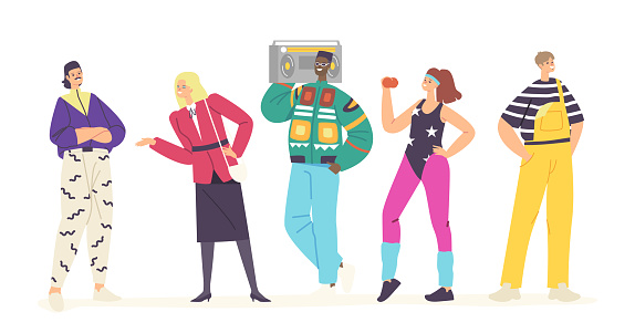 Happy Young Characters in 80s 90s Fashion Style Clothes and Hairstyle Dancing Disco, Training, Listen Music with Tape Recorder. Stylish Men and Women Retro Party. Cartoon People Vector Illustration