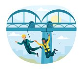 istock Happy characters is bungee jumping from a bridge 1307956132
