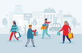 Happy Characters Shopping on Winter Holidays. People with Christmas Gifts on City Street. Woman and Man with Shopping Bags on New Year. Vector illustration