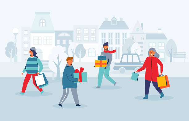 illustrazioni stock, clip art, cartoni animati e icone di tendenza di happy characters shopping on winter holidays. people with christmas gifts on city street. woman and man with shopping bags on new year. vector illustration - city walking background