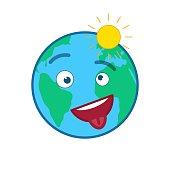 Happy cheeky world globe isolated emoticon