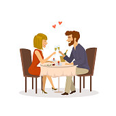 happy cheerful couple in love on a romantic date in the restaurant having dinner isolated vector illustration