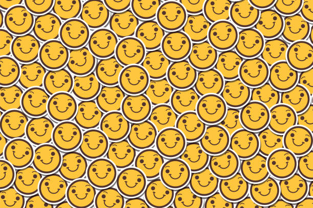 Happy Cheerful Smiling Face Emoji Emoticon Sticker Background vector art illustration