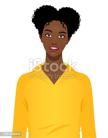 Happy cheerful young black girl portrait