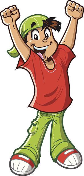 Happy Cheering Boy vector art illustration
