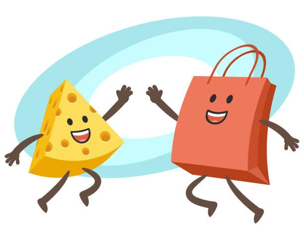 ilustraciones, imágenes clip art, dibujos animados e iconos de stock de carácter de queso feliz y la bolsa de la compra carácter dando alto-cinco. - emoji emocionado