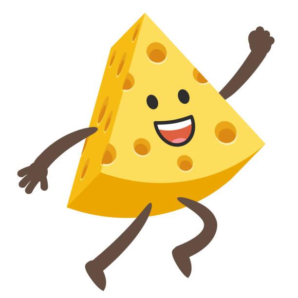 ilustraciones, imágenes clip art, dibujos animados e iconos de stock de happy cheese character saltando. - emoji emocionado