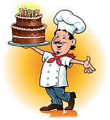 Cartoon image of a happy chef  proud with the birthday cake.