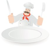 Vector illustration - Happy Chef Holding Knife and Fork, A Blank Dinner Plate.