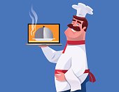 vector illustration of happy chef holding laptop
