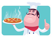 vector illustration of happy chef holding pizza and gesturing thumbs up