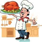 Happy Chef Holding Roasted Turkey Dinner