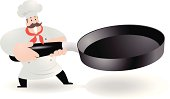 Vector illustration - Happy Chef Holding The Grill Pan.