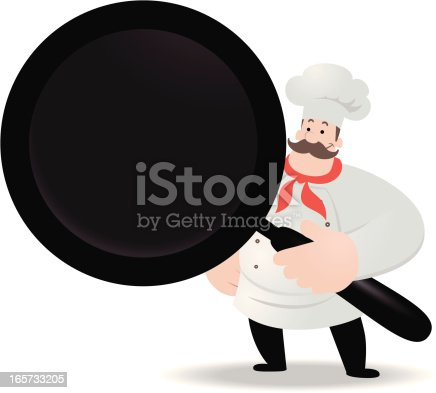 istock Happy Chef Holding The Grill Pan 165733205