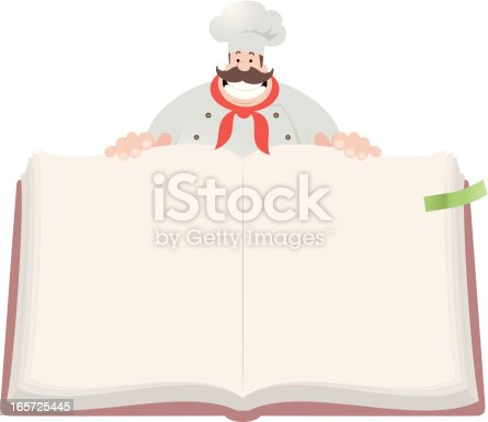 istock Happy Chef Open Cookbook 165725445