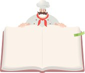 Vector illustration - Happy Chef Open Cookbook.