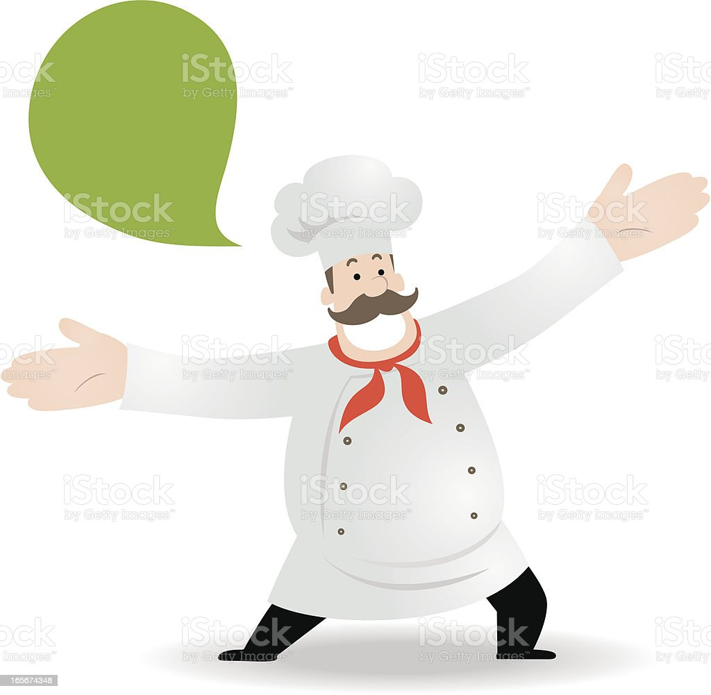 Happy Chef saying Welcome vector art illustration