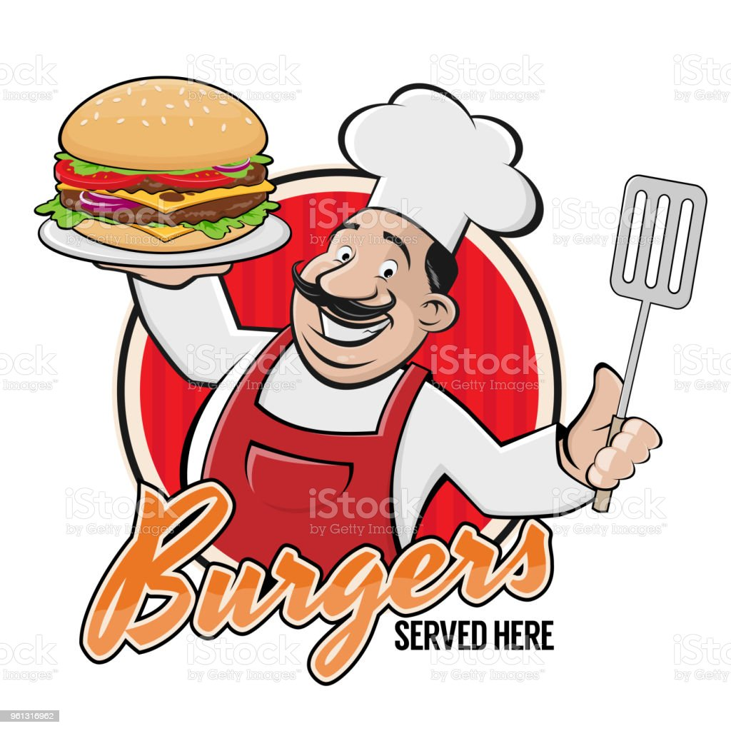幸せなシェフおいしいハンバーガー記号 ベクターアートイラスト