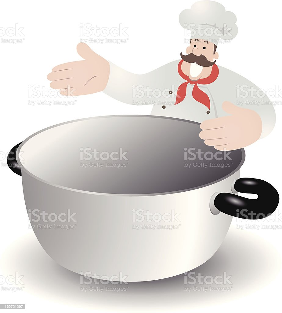Happy Chef Want To Put Something Into The Boiling Pan royalty-free stock vector art