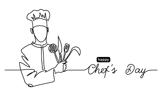 Happy Chefs Day simple vector web banner, border, background, poster. Lineart illustration with text Chefs Day. One continuous line drawing