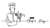 istock Happy Chefs Day simple vector web banner, border, background, poster. Lineart illustration with text Chefs Day. One continuous line drawing 1282627247