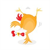 Rooster character design, vector cartoon illustration.  isolated on white background.