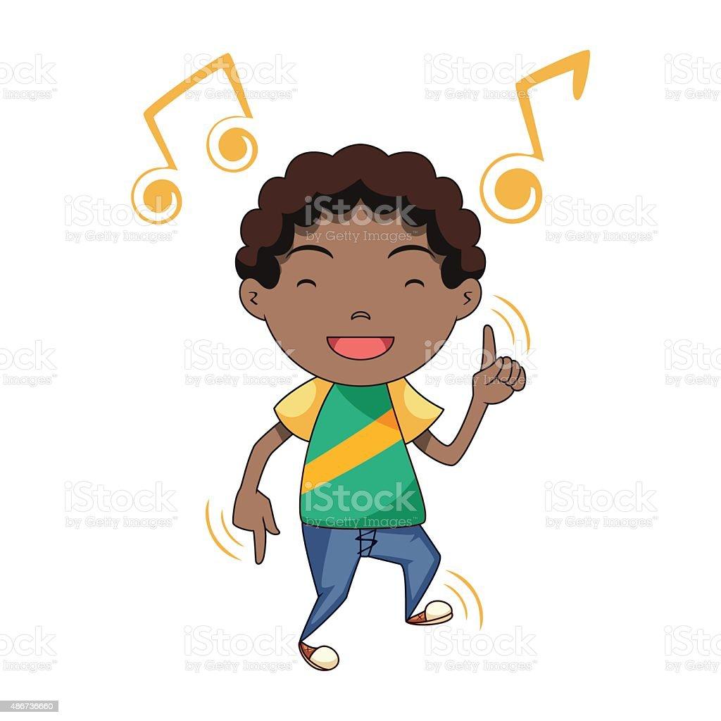 Happy child dancing vector art illustration