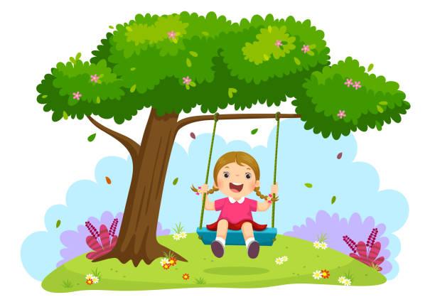 ilustrações de stock, clip art, desenhos animados e ícones de happy child girl laughing and swinging on a swing under the tree - balouço