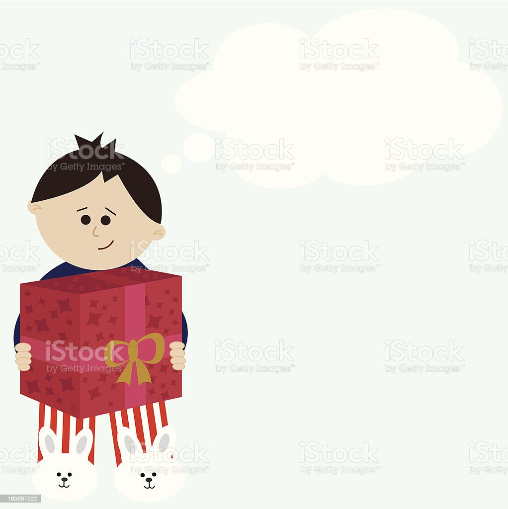 Happy Child Holding a Gift. Room for Your Message! royalty-free stock vector art